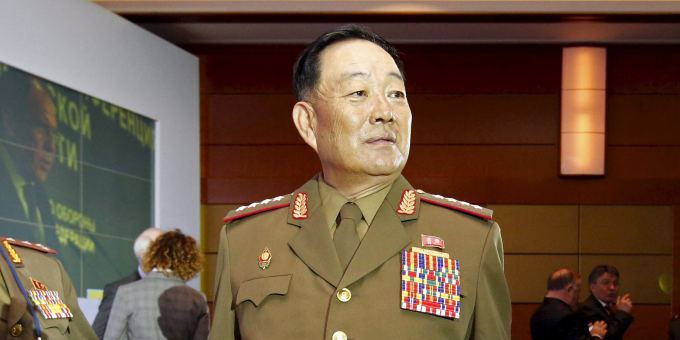 Senior North Korean military officer Hyon Yong Chol (R) attends the 4th Moscow Conference on International Security (MCIS) in Moscow in this April 16, 2015 file photo. North Korea has executed Hyon on treason charges after he fell asleep at an event attended by leader Kim Jong Un, South Korean media quoted Seoul's National Intelligence Service as saying in a briefing to lawmakers on May 13, 2015. Picture taken April 16, 2015. REUTERS/Sergei Karpukhin/Files