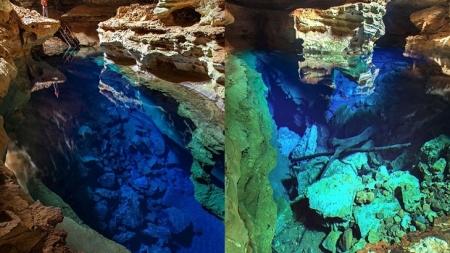 Espectacular agua invisible del Pozo Azul en Brasil.