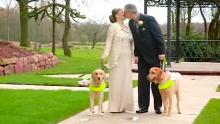 Dos perros guías unieron a esta pareja de ciegos y ahora acaban de contraer matrimonio.