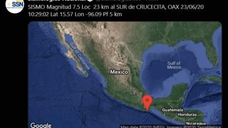 Fuerte sismo de 7.5 se registra en Oaxaca